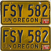 Vintage Oregon License Plates, Yellow and Blue Pair, 1984