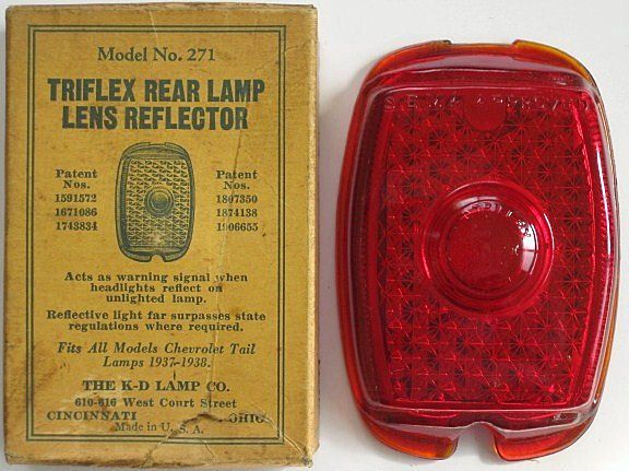 K-D Lamp Co., Triflex Rear Lamp Lens Reflector for 1937-1938 Chevrolet, Model No. 271