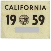 Old California License Plate Sticker, 1959