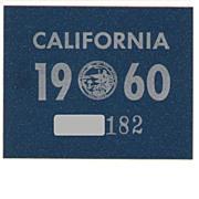 Vintage California License Plate Year Sticker, 1960