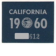 Old California License Plate Year Sticker 1960 YOM