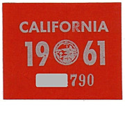 Vintage California License Plate Year Sticker 1961 YOM
