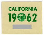 Vintage California License Plate Sticker 1962