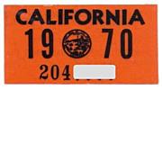 Old California License Plate Sticker 1970 YOM