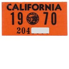 Old California License Plate Sticker 1970 YOM