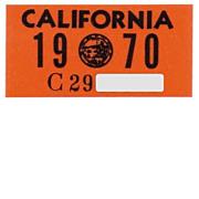 Vintage 1970 California License Plate Year Sticker