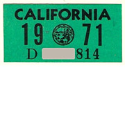 Old 1971 California Sticker, YOM