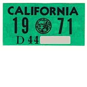 Vintage 1971 California  Sticker, YOM