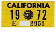 Vintage 1972 California License Plate Year Sticker YOM