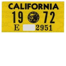 Vintage 1972 California License Plate Year Sticker YOM
