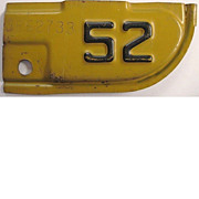 Old California License Plate Corner Tab, 1952