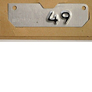 Old 1949 California Motorcycle License Plate Year Tab, NOS
