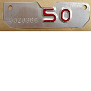 Old California Motorcycle License Plate Year Tab, 1950