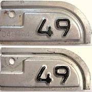 Vintage California license plate renewal tabs, 1949