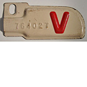 Vintage 1943 California License Plate (Victory) V Tab