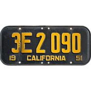 Vintage California License Plate 1951