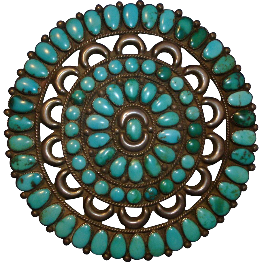 Vintage Large 1940's Native American Zuni Turquoise & Silver Cluster PIn