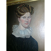 Antique 19th century American Federal Oil Painting - Portrait of a Handsome Woman 1825