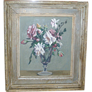 Woodstock Art Colony Floral Still Life Oil Painting of Roses in a Vase by Marko Vukovic Rudolph Galleries 1930