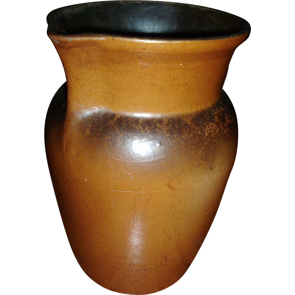 Giant 19th c. U.S. Stoneware Company Batter Pitcher Akron Ohio