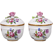 Antique Pair 18th century Meissen Porcelain Covered Jars