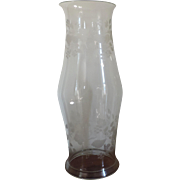 Large Antique 19th century Blown & Etched Glass Baluster Shape Hurricane Shade for a Candlestick