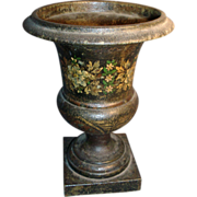 Early 19th c. Empire Tole Paint Decorated Urn 1820
