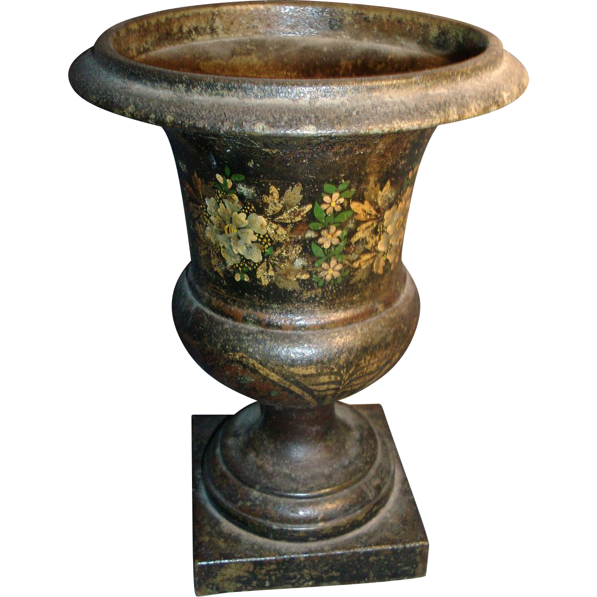 Antique Early 19th Century French Empire Tole Peinte Urn
