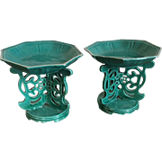 Pair Antique 19th century Chinese Export Monochrome Turquoise Porcelain Altar Tazza for Fruit