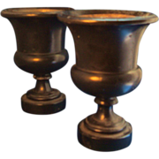 Pair Antique Early 19th century English Regency Treen Ebonized Wood Neoclassical Urn Vases
