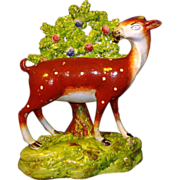 Antique Pearlware Figure of a Standing Buck Deer c. 1800