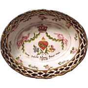18th century English George III Battersea Bilston Enamel Reticulated Basket Tray