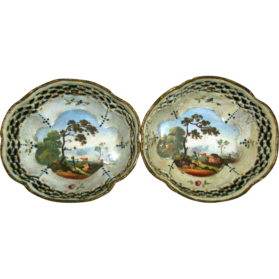 Fine Pair 18th century Bilston Battersea Enamel Reticulated Baskets