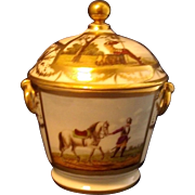 Antique Early 19th century Old Paris Porcelain Sucrier & Cover Painted with Horses
