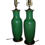 Fine Pair 19th century Chinese Porcelain Green Baluster Shaped Vases as Lamps