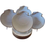 Set 8 Antique Wedgwood Pearlware Scallop Sea Shell Plates 19th Century