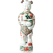 Antique 17th century Chinese Porcelain Ho Ho Boy Figure in Wucai Glaze