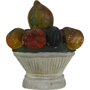 Antique 19th c. American Chalkware Urn with Fruit