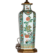 Tall Antique 19th century Chinese Porcelain Vase in Famille Vert Glaze