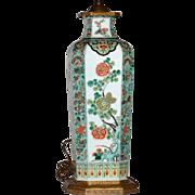 Tall Antique 19th century Chinese Porcelain Vase in Famille Vert Glaze