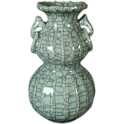 Antique Late Qing Chinese Monochrome Crackle Glaze Celadon Vase