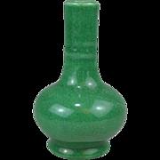 Antique 19th c. Chinese Monochrome Crackle Green Vase of Bottle Shape