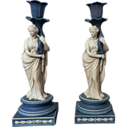 Pair Early 19th c. Wedgwood Classical Jasperware Figural Candlesticks