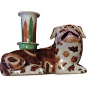 Rare 18th century Chinese Export Porcelain Joss Stick or Candlestick in the Form of a Spaniel