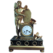 Antique Early 19th century French Empire Gilt Bronze Mantel Clock