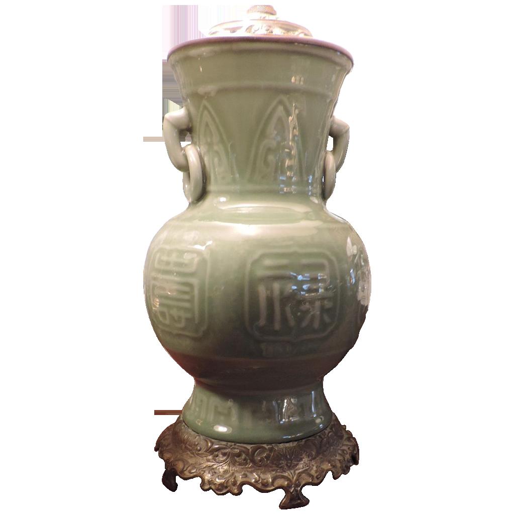 Antique porcelain table lamps - Antique 19th C Chinese Celadon Porcelain Vase As Table Lamp
