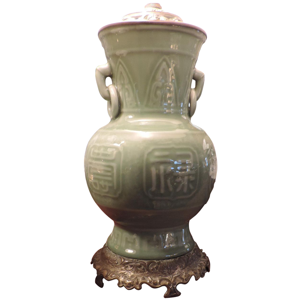 Antique 19th C. Chinese Celadon Porcelain Vase As Table Lamp