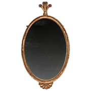 English Regency 19th c. Carved & Gilt Wood Oval Mirror