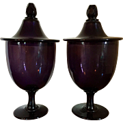 Pair Large Antique 19th century American Amethyst Blown & Cut Glass Apothecary Urns or Vases with Lids
