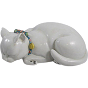 Large Antique 19th century Japanese Kutani Porcelain Cat